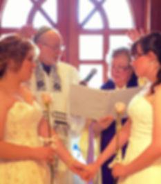 Gay wedding ceremony - Rabbi Roger and Reverend Deborah marry Allison and Christine