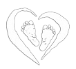 Logo baby feet inside heart