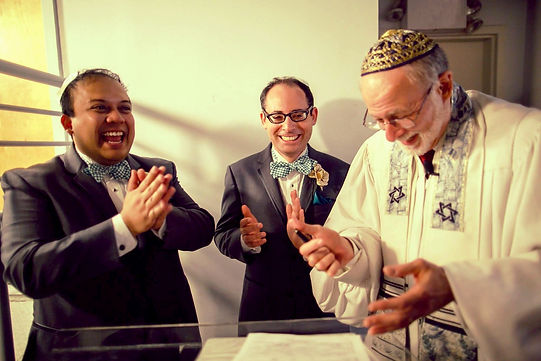 Gay wedding ceremony - Rabbi Roger marries Scott and Jay