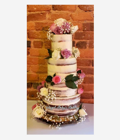 tiered pound cake with fresh edible roses