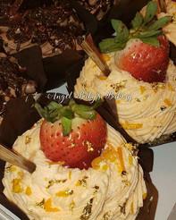 Chocolate, mimosa cupcakes