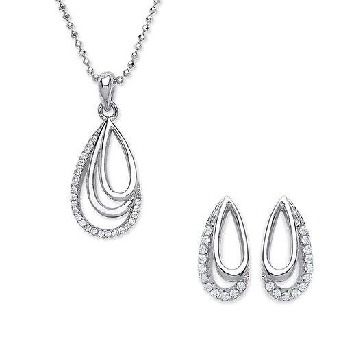 Cubic Zirconia Open Design Pendant & Earrings Set - PUR3840-SET