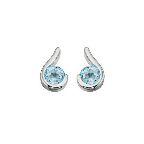 Silver Blue Topaz Curl Earrings - E436T