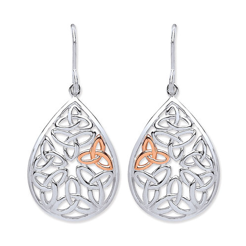 Silver Rose Gold Plated Teardrop Earrings - PUR3738ED