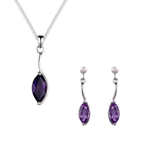 Silver Amethyst Marquise Pendant and Earrings Set - SP1186AM-SE1155-SET