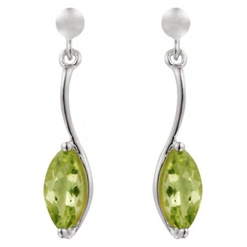 Silver Real Peridot Marquise Shaped Drop Earrings - SE1155PD