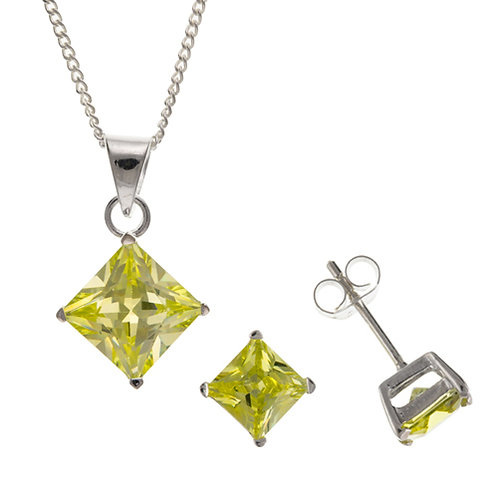 Silver Peridot Square Pendant and Earrings Set - BT4531-BP6499-SET