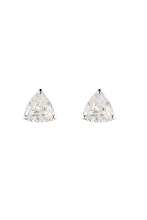 Silver White CZ Trillion Claw Stud Earrings - SE1113WCZ