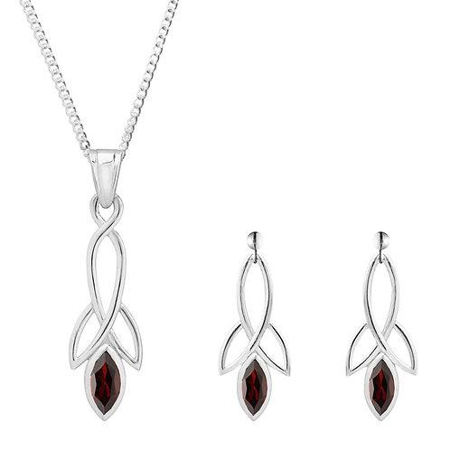 Silver Garnet Celtic Pendant and Earrings Set - SP1372GA-SE1371GA-SET