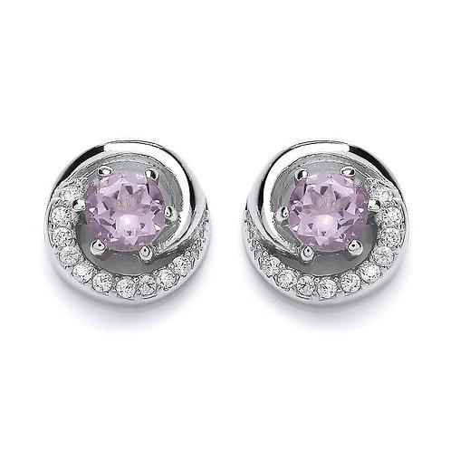 Silver Real Amethyst Stud Earrings - NSNEXCELAMCZEAR