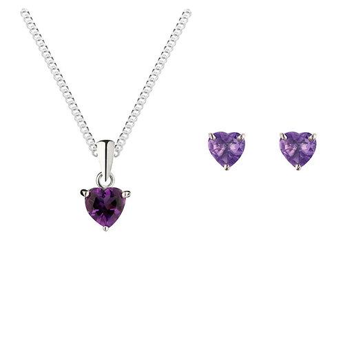 Silver Amethyst Heart Shaped Pendant and Earrings Set - SP1140AM-SE1101AM-SET