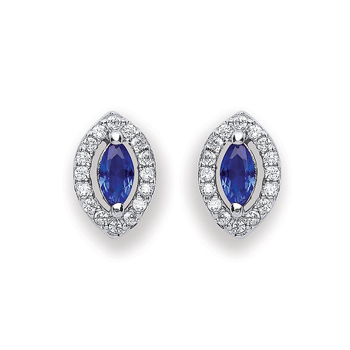 Silver Blue Marquise Shaped Stud Earrings - P3691ES-1