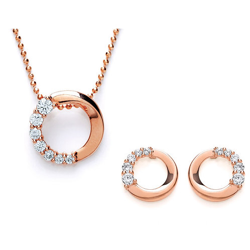 Silver Rose Gold Plated CZ Pendant and Earrings Set - PUR3609-SET