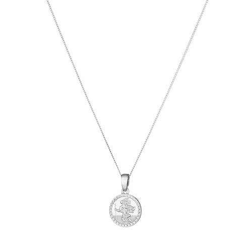 Childrens silver St Christopher & chain- BU8053