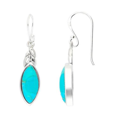 Silver Turquoise drop earrings  - E4570t