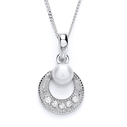 Silver Freshwater Pearl and CZ Circle Pendant - PUR1683P