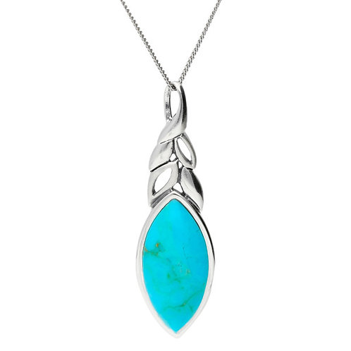 Silver turquoise pendant with 18inch curb chain  - P3860t