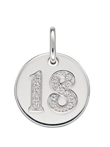 Silver 18th birthday pendant with 18inch silver curb chain- P4828c