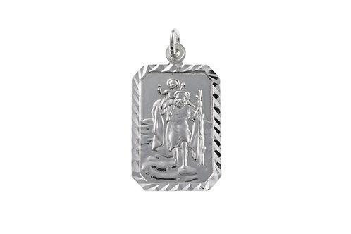 Silver Rectangular St Christopher Pendant - BU2729