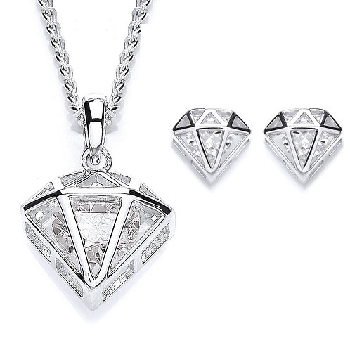 Silver White CZ Diamond Shaped Pendant and Earrings Set - PUR3562-SET