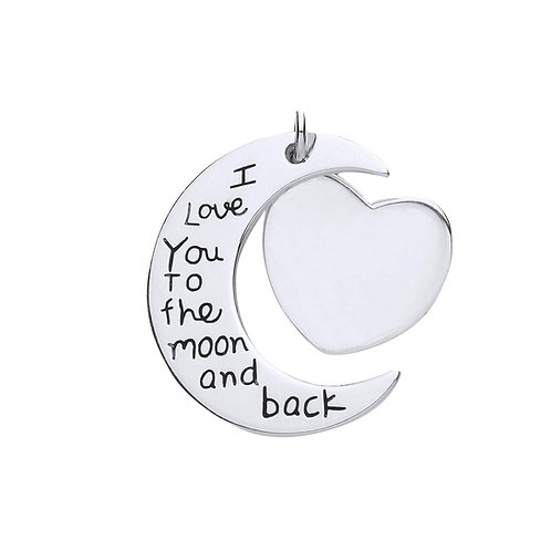 Silver moon and heart message pendant & chain- BU9095