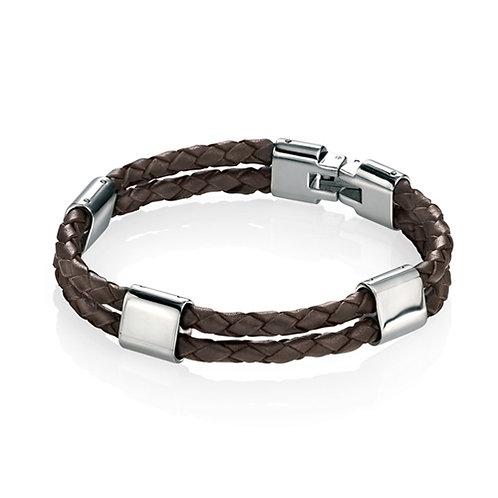 Fred Bennett Brown Leather 21.5cm Bracelet - B3671