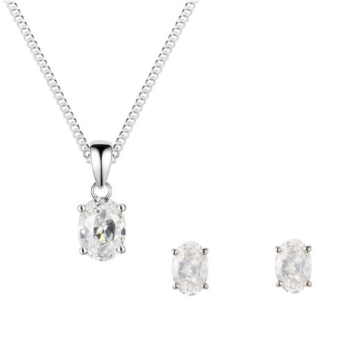Silver White CZ Oval Pendant and Earrings Set - SP1134WCZ-SE1103WCZ-SET