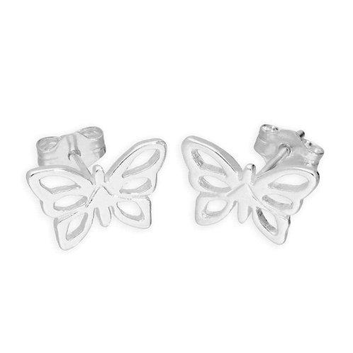 Silver Butterfly Stud Earrings - E6051
