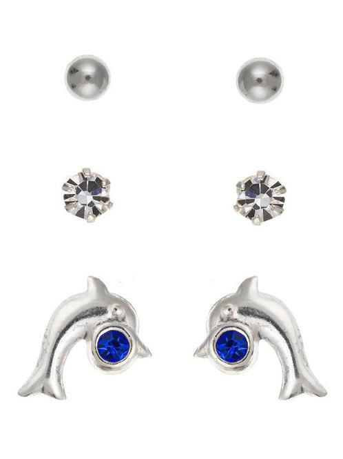 Silver Trio Kids Earrings - ID-SET16