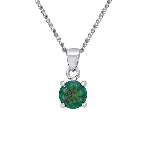 Silver Emerald Coloured CZ Pendant - SP1130ECZ