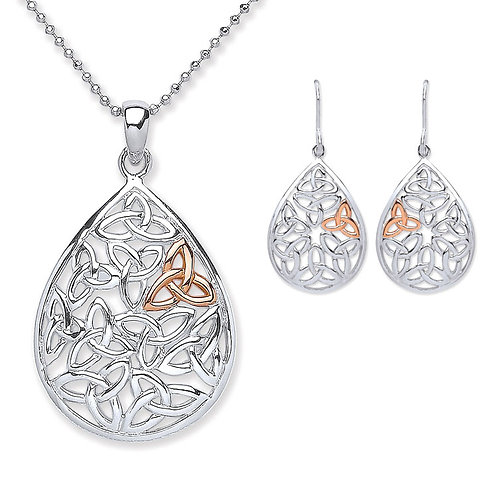 Silver and Rose Gold Plated Celtic Pendant and Earrings Set - PUR3738-SET