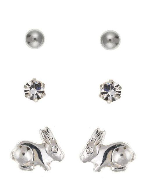 Silver Trio Kids Stud Earrings - ID-SET17