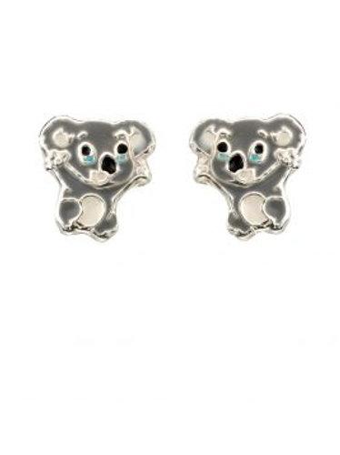 Silver Koala Bear Stud Earrings - A2047