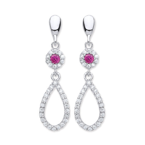 Silver Ruby and White CZ Drop Earrings - P3810ED-2