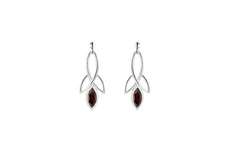 Silver Garnet Celtic Style Earrings - SE1371GA