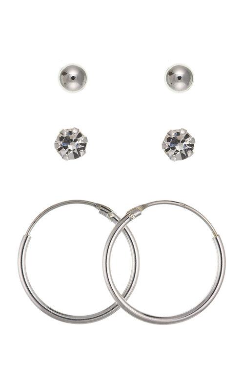Trio of Silver Earrings Set - ID-SET09