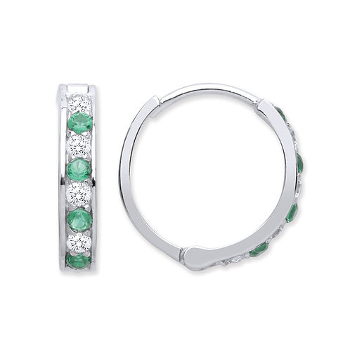 Silver Emerald and White CZ Hoop Earrings - P3801ES-3