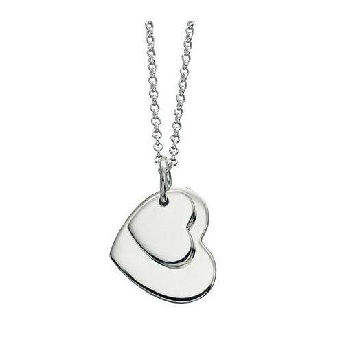 Silver Double Heart Pendant - P4176