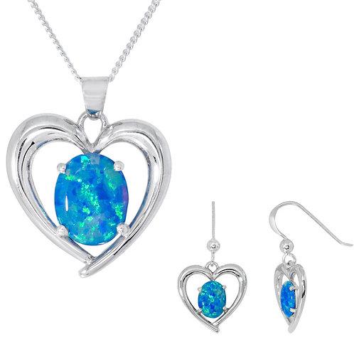 Silver Blue Opal Heart Pendant and Earrings Set - SP2775BCOP-SE2776BCOP-SET