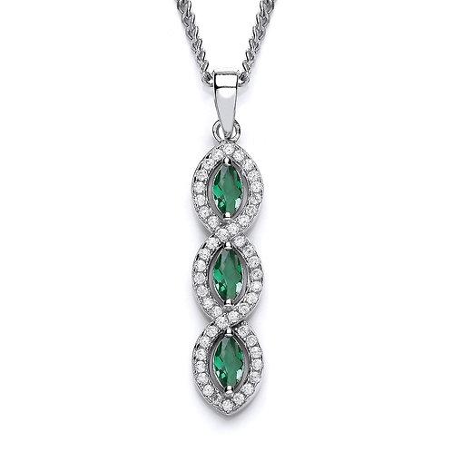 Silver Emerald Marquise Pendant - P3691P-3