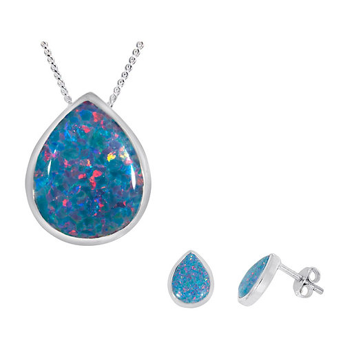 Silver Multi-Coloured Opal Pendant and Earrings Set -SP2312MCOP-SE2311MCOP-SET