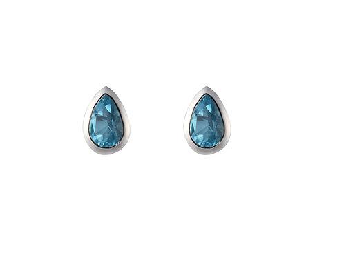 Silver Blue Topaz stud earrings- SE1120BT