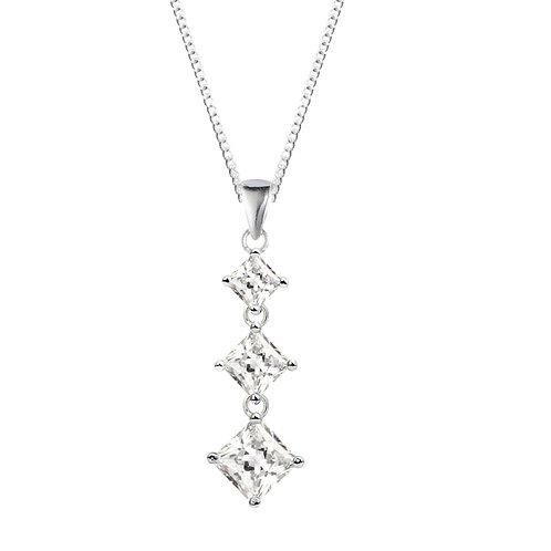 Silver White 3 Stone Pendant - SP1367WCZ
