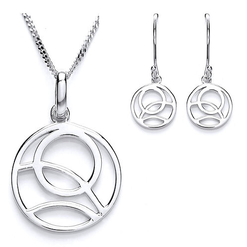 Silver Rennie Macintosh Round Pendant and Earrings Set - PUR3619-SET