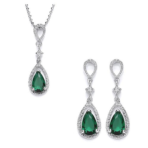 Silver Emerald Coloured CZ and Drop Earrings Set - P3700-2-SET