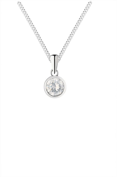 Silver cubic zirconia pendant and chain. - SP1142WCZ
