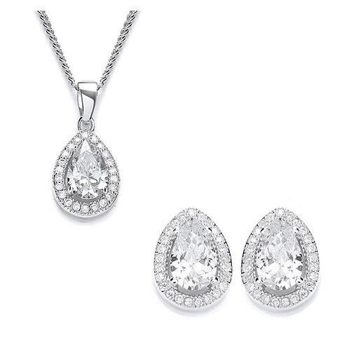 Cubic Zirconia Pear Pendant & Stud Earrings Set - PUR1511-SET