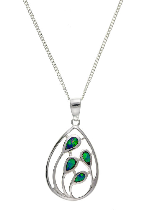 Silver Synthetic Green Opal Pendant - BT4155