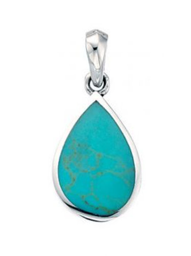Silver Turquoise pendant with chain- p2333u