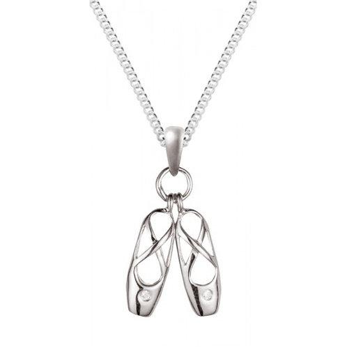 Silver White Cubic Zirconia Ballet Shoes Pendant - SP1185WCZ